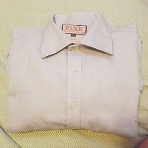 THOMAS PINK Gray/White Diagonal Stripe French Cuff